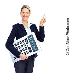 Accountant business woman with a big calculator Over white...