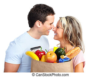 shopping couple with a bag of food