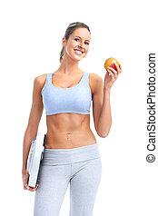condición física, mujer, manzana