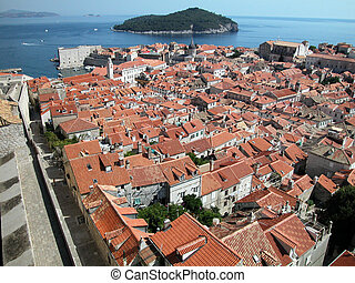 Dubrovnik fortified town - Aerial view of Dubrovnik...