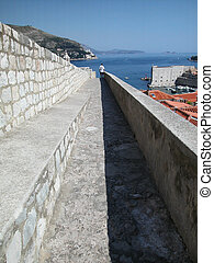 Dubrovnik fortified town view from the ancient wall, Croatia
