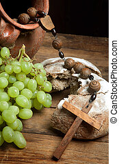 Grapes wine and holy bread