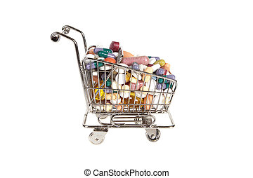 Shopping cart with medicine - Little shopping cart filled...