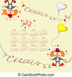 Calendar for 2012 with circus illustration