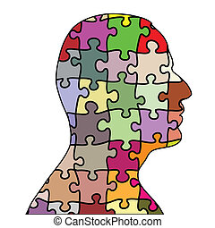 Puzzle man - Illustration of a man puzzle on a white...