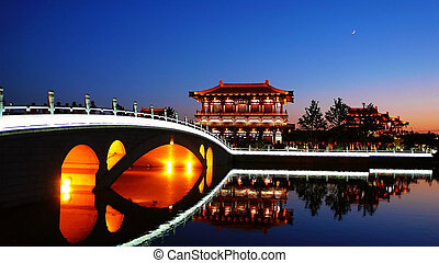 Night scenes of Xian,China - Beautiful night scenes of the...