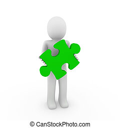 3d human green puzzle - 3d human puzzle green business white...
