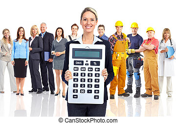 Accountant business woman with a big calculator and people