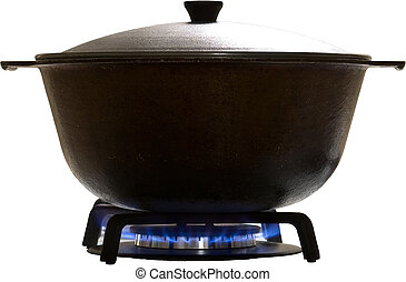 isolated saucepan with cover on a stove burner
