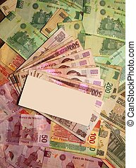 Mexican Peso currency notes banknotes with blank center...
