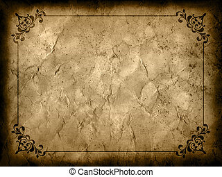 Grunge background with decorative border - Dirty grunge...