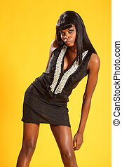 Sexy fashion model in dress - Sexy young black fashion model...