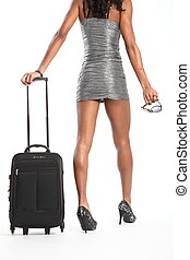 Sexy woman walking with suitcase - Woman's sexy long legs,...