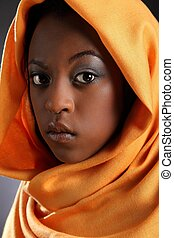 Beautiful black girl in headress - Headshot of beautiful...