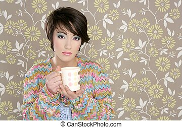 coffee cup drinking retro fashion 60s woman vintage...