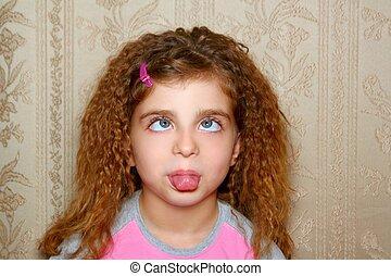 divertido, niña, cara, feo, expresión, bizco,...