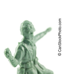toy soldier throwing grenade - rear view of an old toy...
