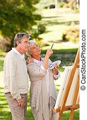 Pintura, pareja, parque, 3º edad