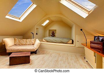 ático, diseño, único,  adorable, dormitorio