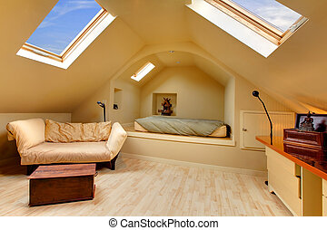 Adorable attic bedroom with unique design