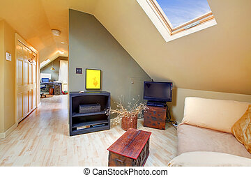 Attic living room with sky light and hallway