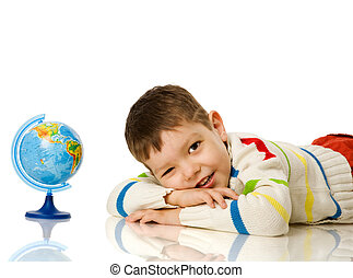 Four years boy with globe isolated on white