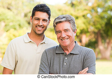 Father with his son looking at the