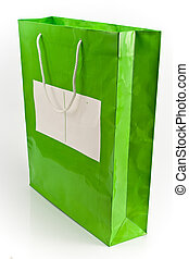 Green shopping bag - a green shopping bag isolated on white...