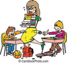 class trip - a teacher with a handful of books tripping over...