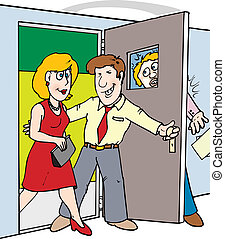 door in face - A man opening a door for a woman not seeing...