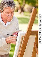 Pintura, parque, anciano, hombre
