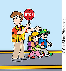 safe crossing - A crossing guard with children safely...
