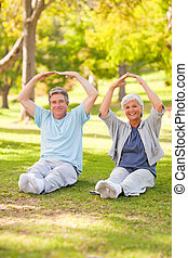 Elderly couple doing their stretches in the park