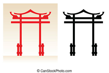 Japan Gate - Abstract japan tori gate, color illustration...