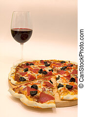 pizza and wine - fresh pizza and glass of wine