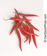 chilies on white background