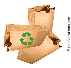 old reused paperbags for recycling on a white background