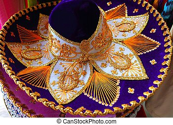 Charro mariachi Mexican hat blue purple and golden...