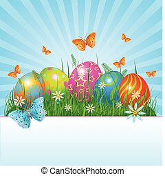 Easter background - Radial Easter place card with eggs in...