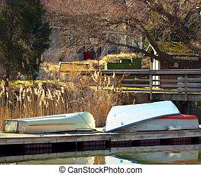 Quiet Winter Rowboat Landscape