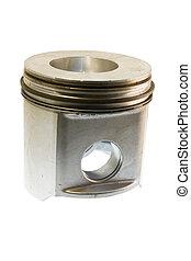 diesel piston on white - single aluminum diesel piston...