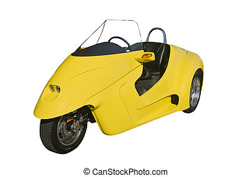 furturistic yellow trike - furturistic 45 mpg yellow trike...