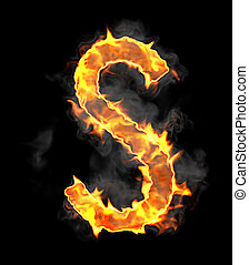 Burning and flame font S letter over black background