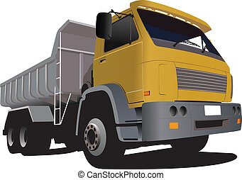 Yellow truck on the road Lorry Vector illustration