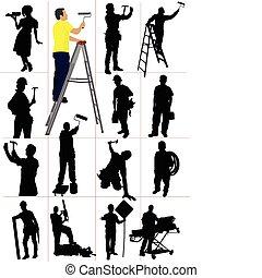 Trabalhadores, silhuetas, homem, woma