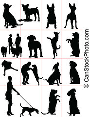 jogo, cachorros, silueta, vetorial, doente