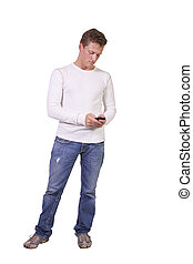 casual man texting on cell phone - isolated