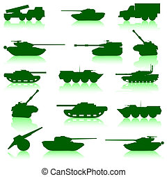 Collection set of tanks of guns