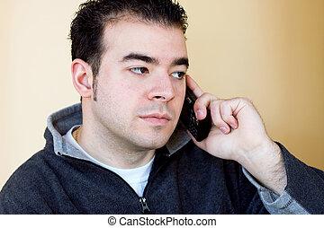 conversation, sien, homme, téléphone