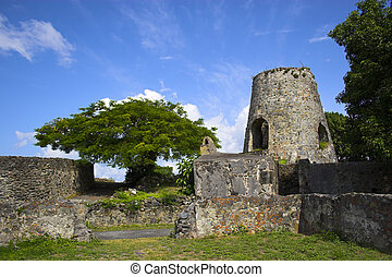 Sugar mill tower - Historic ruins of sugar mill on the...